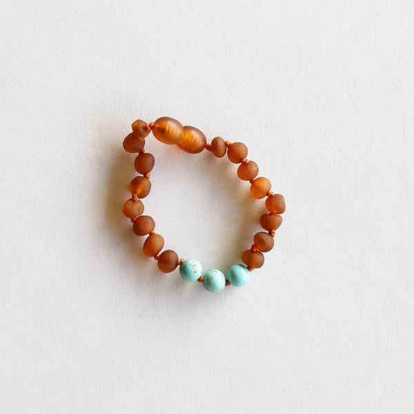 Kids Genuine Amber Bracelet with Turquoise, 5in