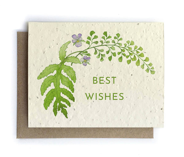 The Bower Studio - Best Wishes Botanical Greeting Cards - Plantable Seed Paper