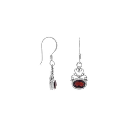 Garnet Earrings, Heart Scroll, Sterling Silver