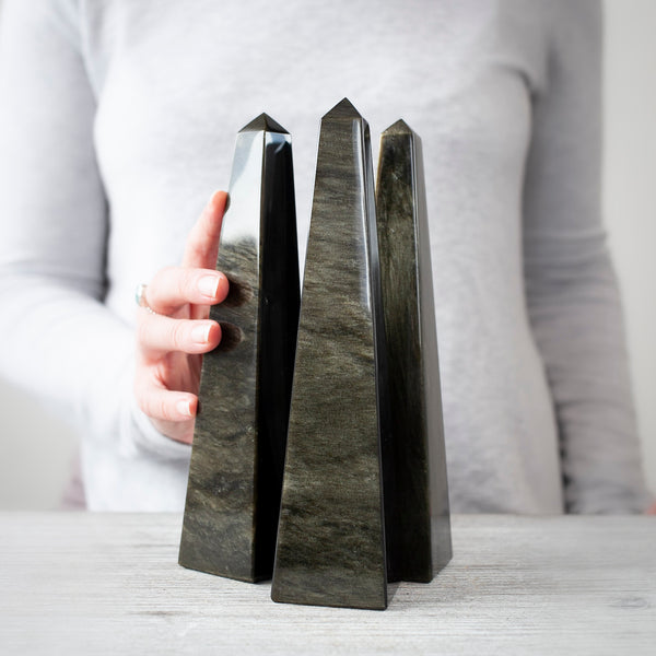 Gold Sheen Black Obsidian Obelisk, Choose your height