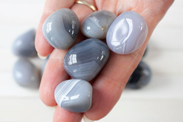 Gray Banded Agate Tumbled Stones