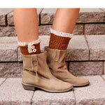 Burnt Rustic Boot Cuffs with buttons and lace, Handmade
