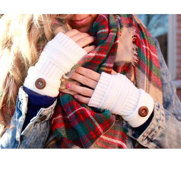 Fingerless Gloves in white or black, handmade knitted gloves with buttons