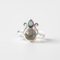 Labradorite and Mystic Topaz Ring