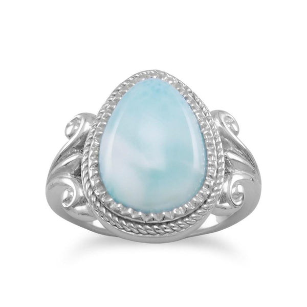Larimar Ring, Pear Shaped, Sterling Silver