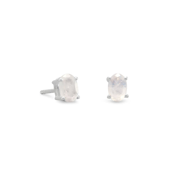 Rainbow Moonstone Stud Earrings, Sterling Silver