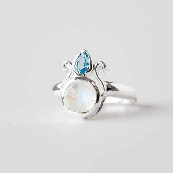 Rainbow Moonstone and Blue Topaz Ring