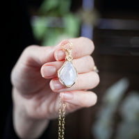 Rainbow Moonstone Teardrop Pendant Necklace, 20in, 14k Gold Filled