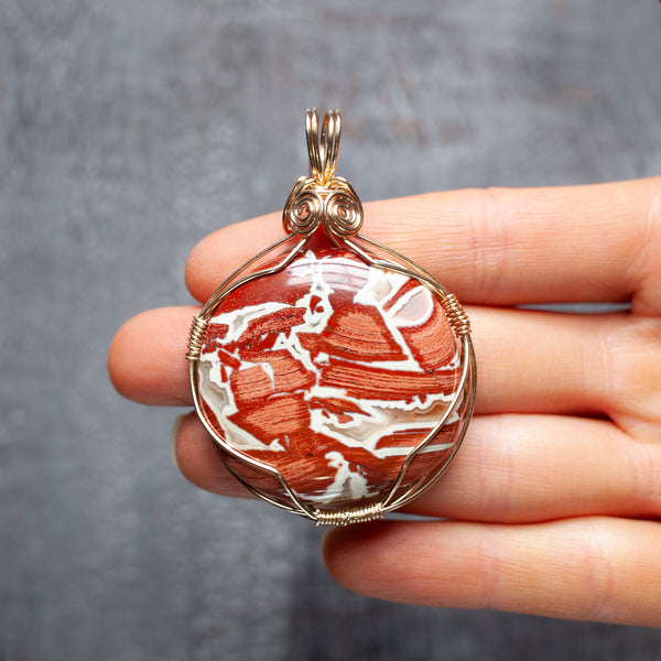 Large Red Jasper Pendant | Wearable Palm Stone Necklace, Custom Length Chain