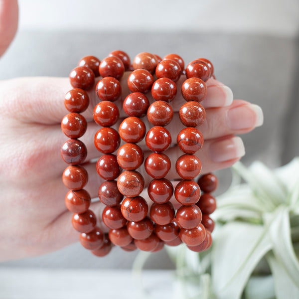 Red Jasper Bracelet, 10mm Stretch