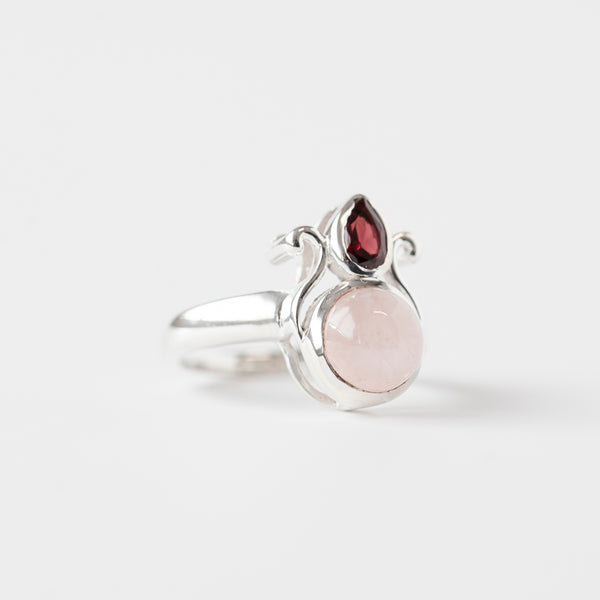 Rose Quartz and Garnet Ring, Sterling Silver