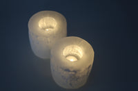 selenite tea-light holder
