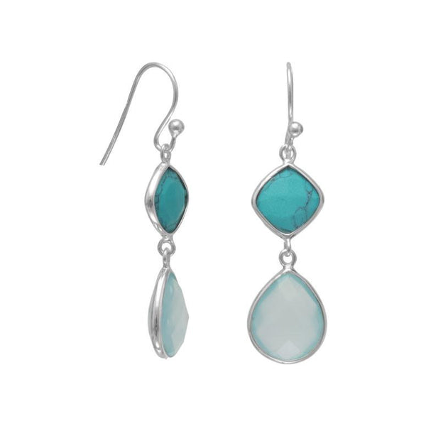 Turquoise and Chalcedony Drop Earrings, Silver