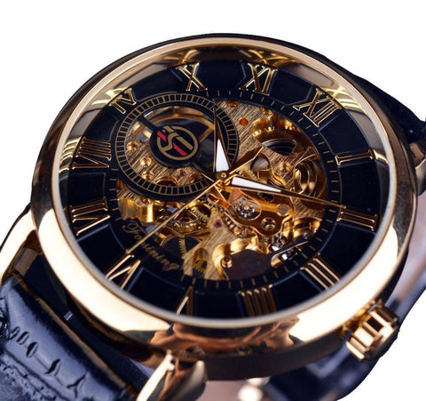 Black Gold Case Leather Skeleton Mechanical Watch