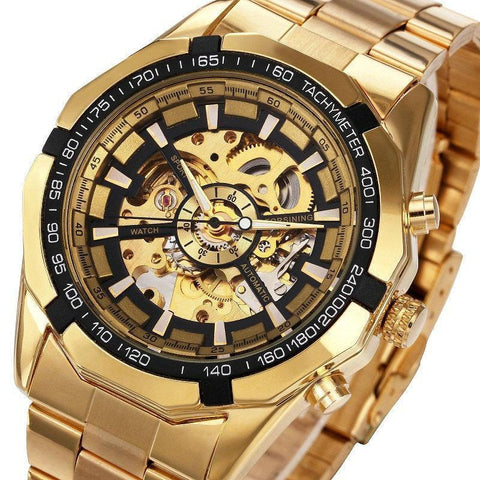 Gold Skeleton Vintage Watch