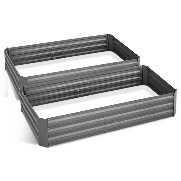 Green Fingers Set of 2 210cm x 90cm Raised Garden Bed - Aluminium Grey