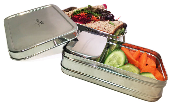 Stainless Steel-Sustain-a-Stacker Trio Lunchbox