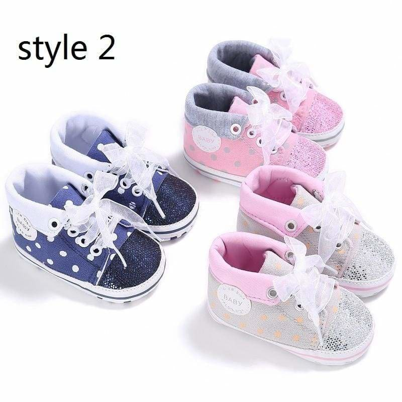 Newborn Baby Boy Girl Plaid Crib Shoes Toddler Lace Soft Sole Shoe Sneaker 0-18M