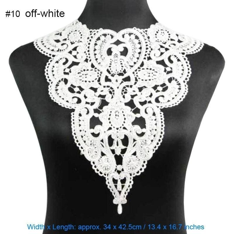4x Elegant Crochet Lace Embroidery Floral Neckline Collar Sewing Applique Black