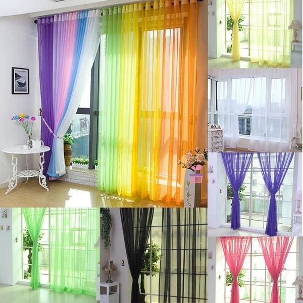 Fashion Door Window Curtain Floral Tulle Voile Drape Panel Sheer Scarf Valances!