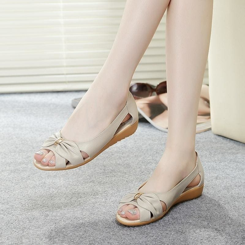 100% Cow Genuine Leather Sandals Women Flat Heel Sandals Fashion Summer Shoes Woman Sandals Summer Plus Size 42 EU