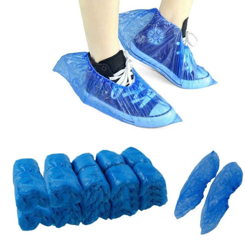 200PCS Disposable Waterproof Boot Cover Shoe Covers Carpet Cleaning Blue Cute