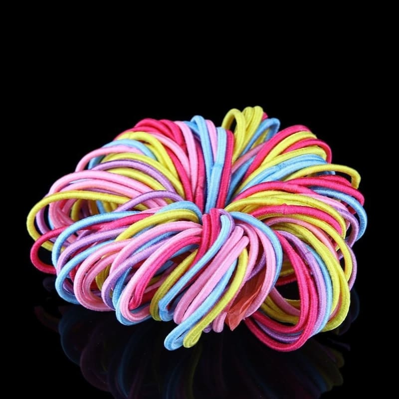 MULTICOLOUR AND  BLACK THICK HAIR ELASTICS BOBBLES HIGH QUALITY ENDLESS BANDS