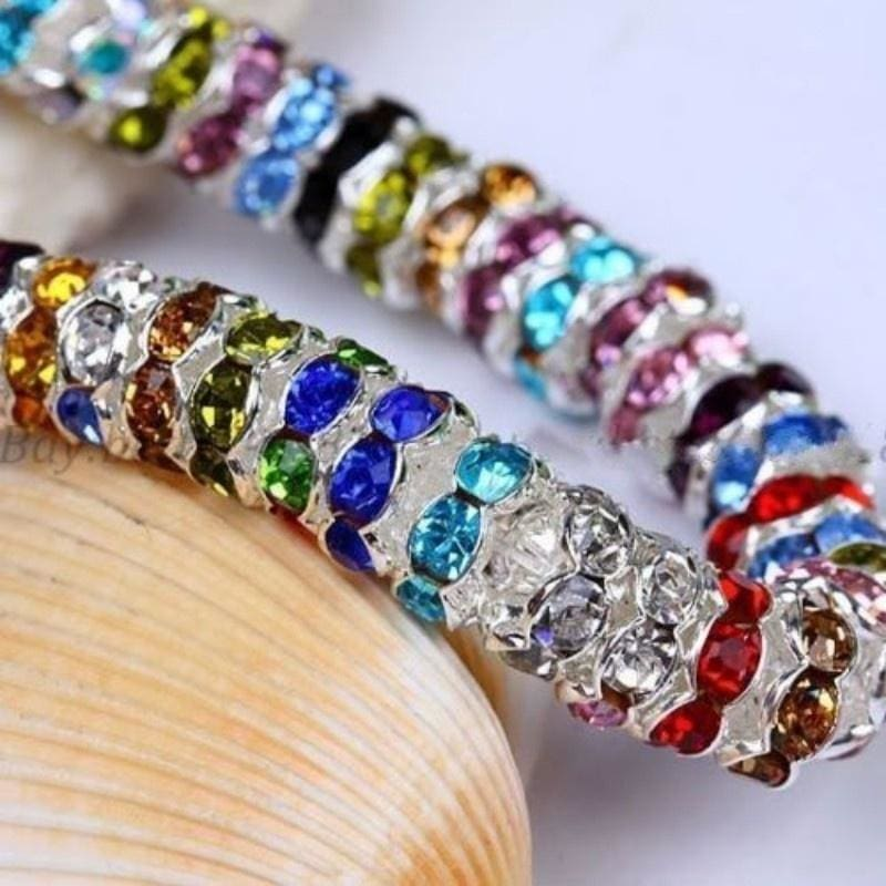 Wholesale 50//100Pcs Crystal Rhinestone Silver Plated Rondelle Spacer Beads 8mm
