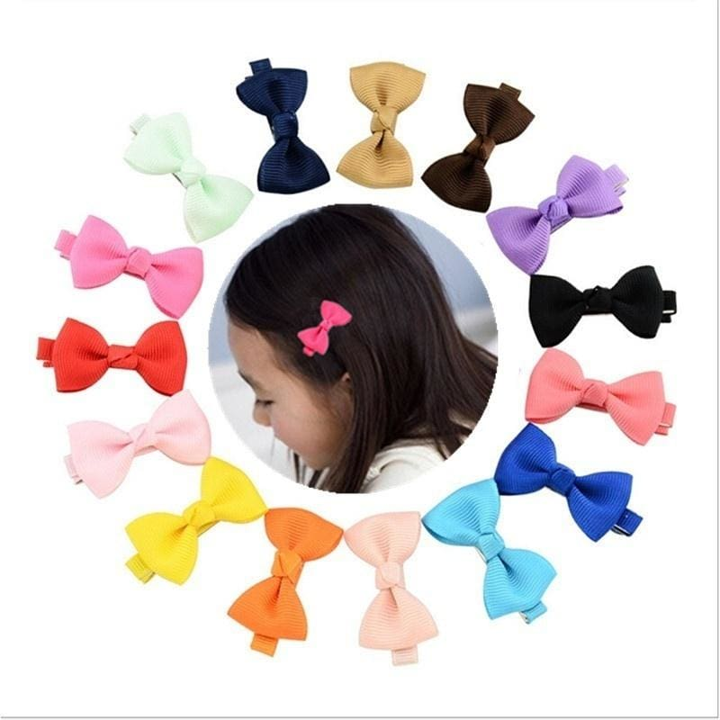 "4.5/"" Solid Baby Girls Clip Hair Bows Large Set Of 16 Color"