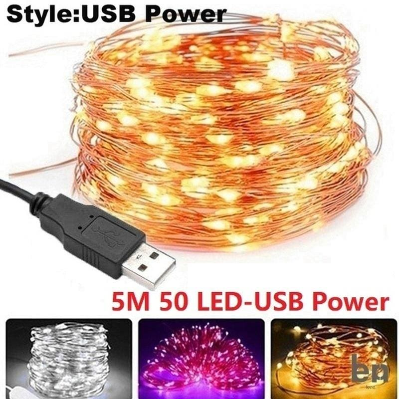 USB Connector LED String Fairy Lights 5M 10M Copper Wire Lighting Lamp Home Xmas