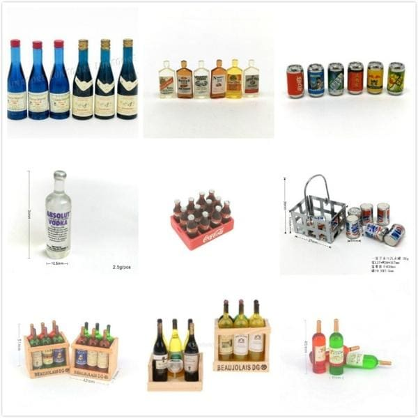 1:12 Dollhouse Mini 6 Blue Beer Bottle Models Drinking Doll House Decor