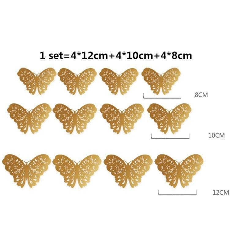 12Pcs 3D DIY Wall Sticker Stickers Butterfly Home Decor Room Decorations TWQ
