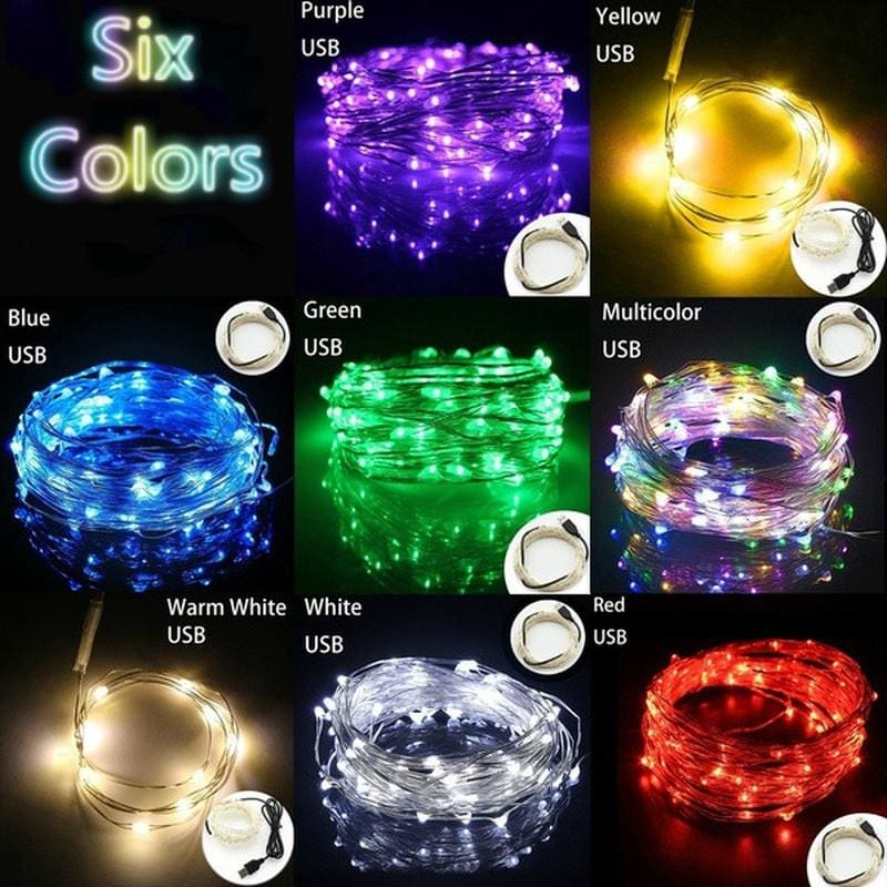 1//5//10M USB LED Copper Wire Strings Fairy Light Strip Lamp Festival Party Hot