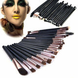 20 pcs Makeup brush set Powder foundation eyeshadow eyeliner lip cosmetic brushes - 20pcs / Coffee