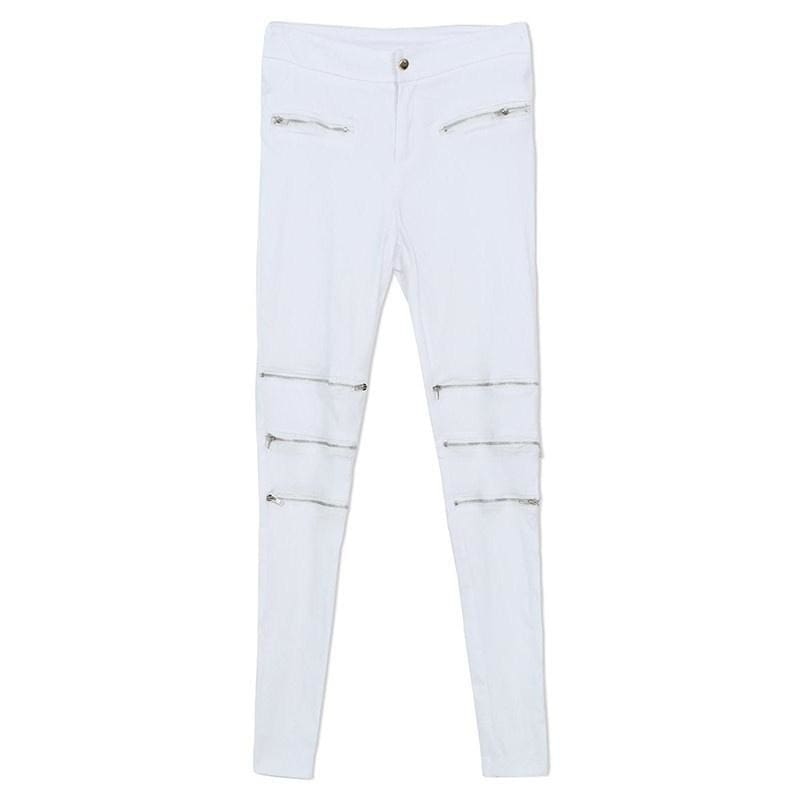 2015 fashion summer style casual women white pants mid waist bodycon elegant sexy skinny pencil pant zipper/pockets plus size