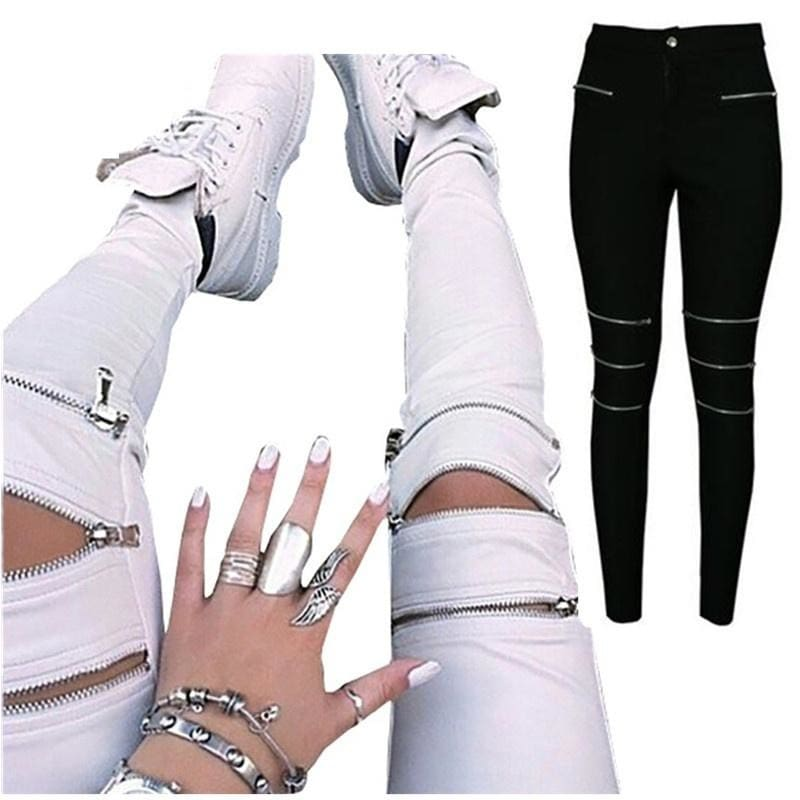 2015 fashion summer style casual women white pants mid waist bodycon elegant sexy skinny pencil pant zipper/pockets plus size - S / White