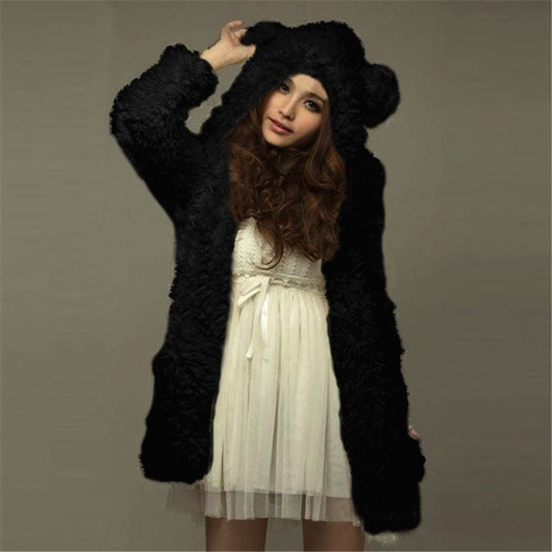 2015 New Fashion Winter Hoodies Thicken Fleece Women Jacket Bear Ears Hooded Long Sleeve Coat Outerwear Chaquetas Mujer Blusas-N6