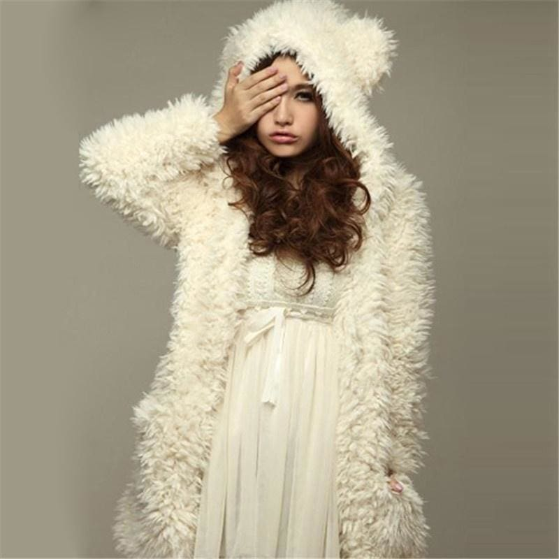 2015 New Fashion Winter Hoodies Thicken Fleece Women Jacket Bear Ears Hooded Long Sleeve Coat Outerwear Chaquetas Mujer Blusas-N6 - S /