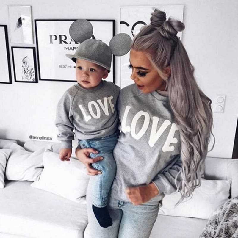 Women Baby Boy Matching Clothes Love Heart Sweatshirt Top Blouse for Mother Son