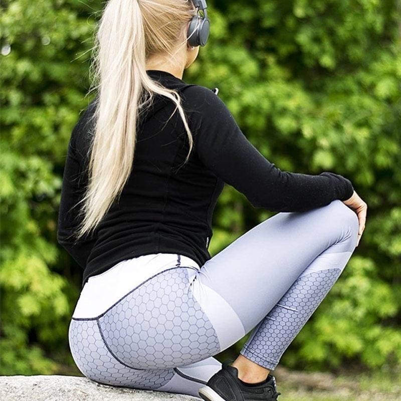 2017 New Mesh Pattern Print Leggings Fitness Leggings For Women Sporting Workout Leggins Elastic Trousers Slim Black White Pants