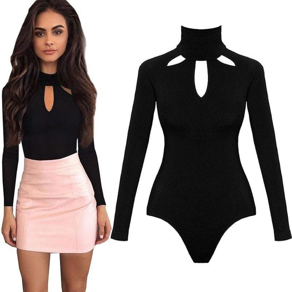 2017 Sexy Women Bodysuit New Solid Choker Neck Long Sleeve Bodysuit Stretch Leotard Casual Tops Jumpsuit