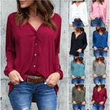 2017 V collar fold button long-sleeved loose chiffon shirt 8 colors 8 yards