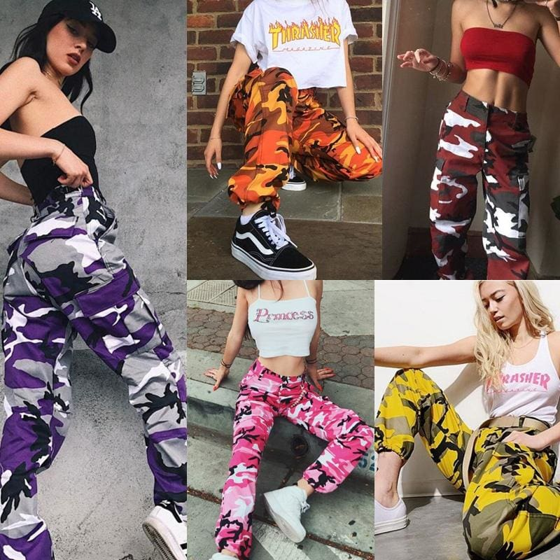 Fashion Womens Sport Camo Cool Pants Outdoor Casual Camouflage Trousers Jeans