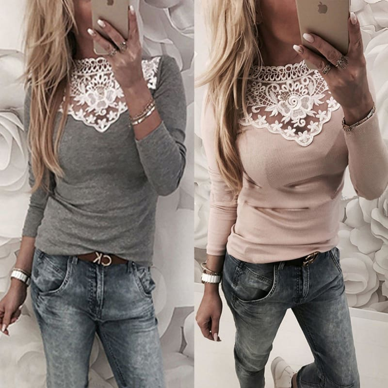 2018 Autumn and Winter Women Sexy Solid Color Lace Stitching Splice Round Neck Pullover Long Sleeve T-shirt Slim Fit Top Ladies Fashion