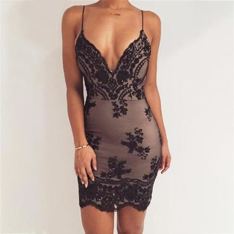 2018 Luxury Fashion Womens Gold Black Sequin Dress Sexy V-neck Backless Sundress Party Club Wear Mini Sequined Dress