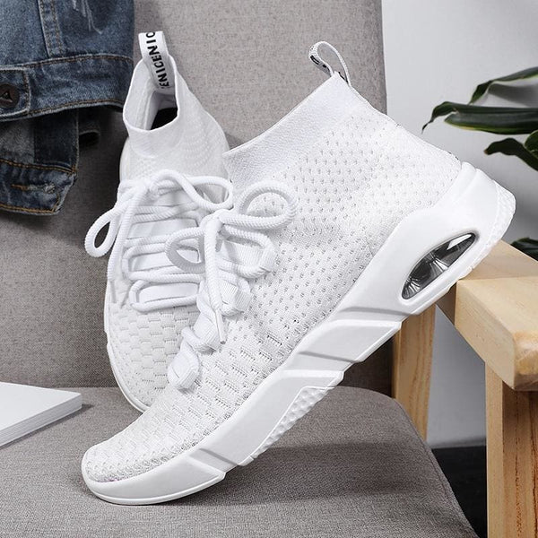 2018 Men Fashion Running Shoes Breathable Shoes Knitted Travel Shoes Light Sports Shoes - EU40 / Red