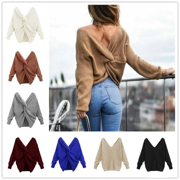 2018 New Jumpers Pure Color Casual Sexy V Neck Sweater Twisted Back Sweater Women 3 Pullovers Long Sleeve Knitted