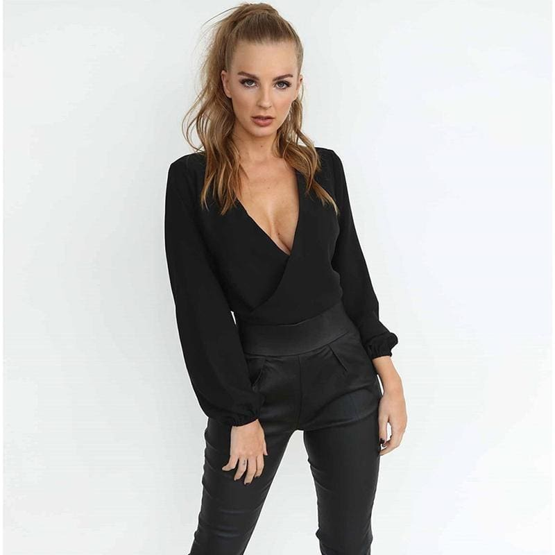 2018 New Women Sexy Casual Back Open Back Backless Wrap Chiffon Blouse Female Crop Top V Neck Long Sleeve Bow Shirt