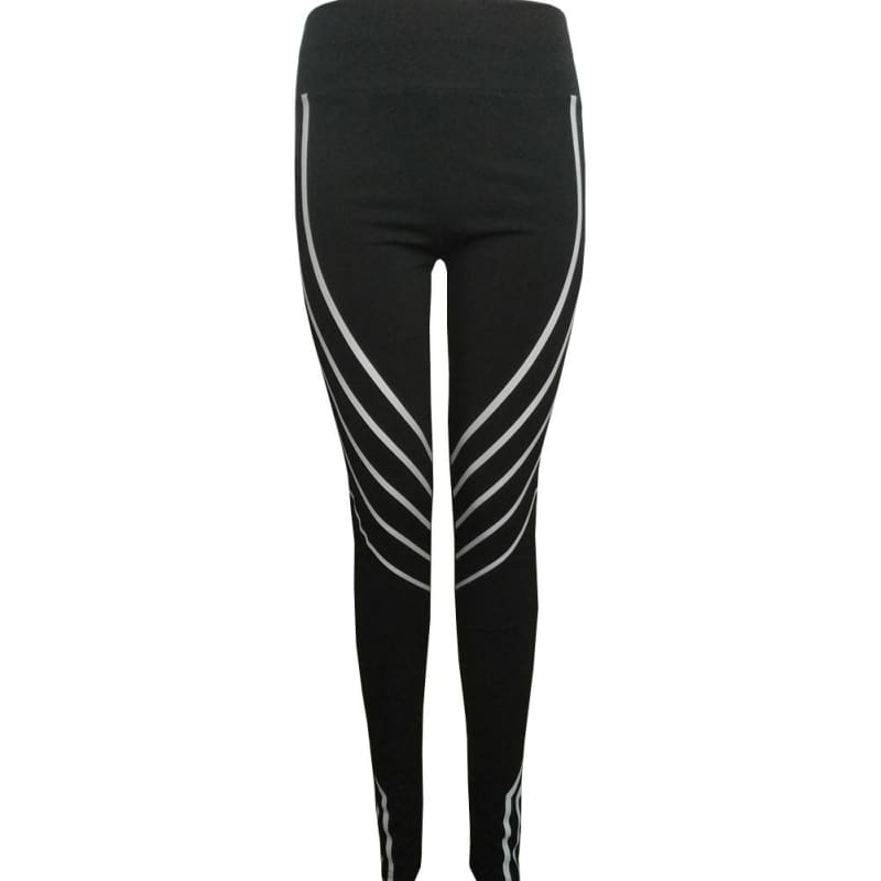 2018 New Women Yoga Fitness Leggings Iridescent Reflective Material Striped Printed Leggings Black Running Gym Stretch Sports Pants