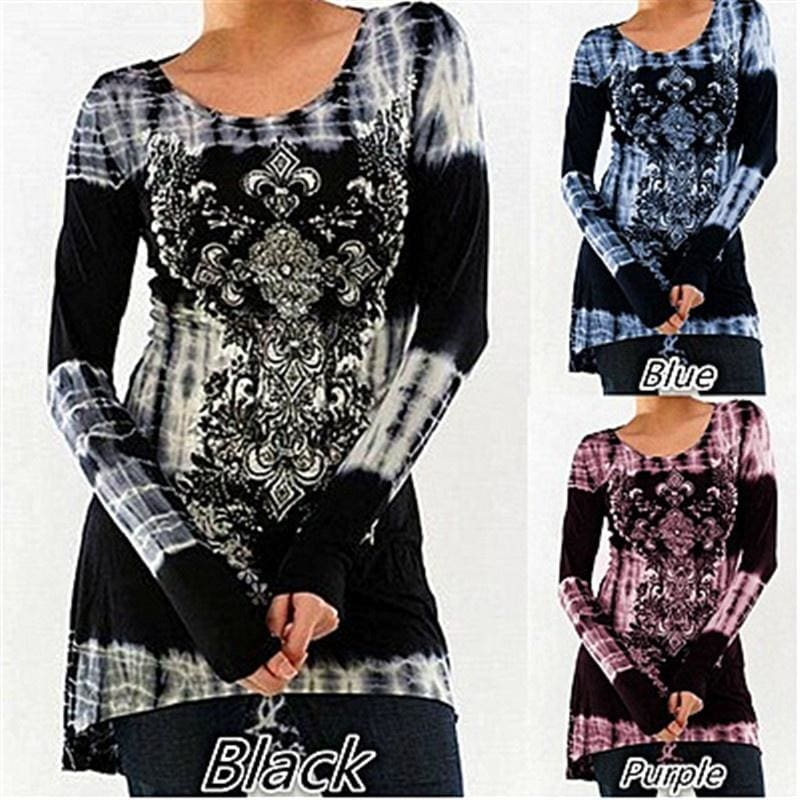 2018 New Womens fashion Long Sleeve O-neck Printing T-shirt Slim High Waist Tie Dye Tops